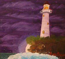 Moonlit Lighthouse by sara2442