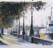 London drawing - Waterloo Bridge on the Embankment by MrCreator