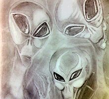 alien greys (pencils) by Martin Hoskins
