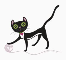 Cat with Yarn by Lyuda