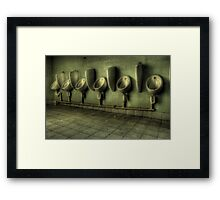Toilets are cleaned hourly Framed Print