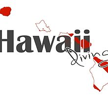 Hawaii Island Diving Diver Flag Map by surgedesigns