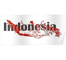 Indonesia Diving Diver Flag Map Poster