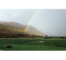 Rainbow at Campsite Photographic Print