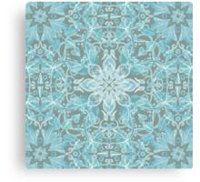 Soft Teal Blue & Grey hand drawn floral pattern Canvas Print