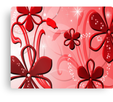 Red Petal Sparkle Design Canvas Print