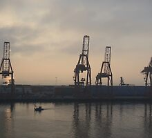 Container Cranes on Ensenada by Elizabeth  Lilja
