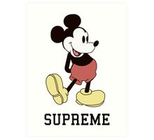 Classic Supreme Mickey Mouse Art Print
