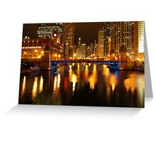Chicago River at Night Greeting Card