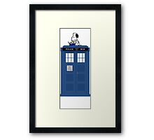 Snoopy on Tardis Framed Print
