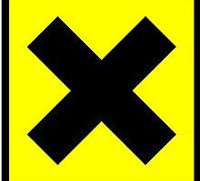 Warning toxic hazard cross. Yellow X. by 2monthsoff