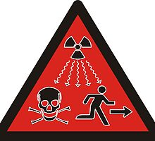 Radiation danger - high level sources sign. Red triangle. by 2monthsoff