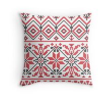 Red and Black Knitting Pattern 3 Throw Pillow