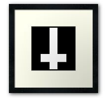 Inverted metal cross [upside-down] Framed Print