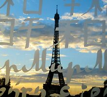 The Eiffel Tower behind the peace word by MyLove4Art