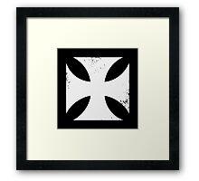 Iron cross in white. Framed Print