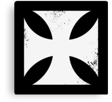 Iron cross in white. Canvas Print
