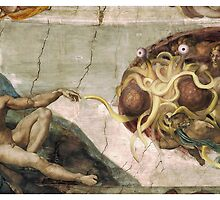 Flying Spaghetti Monster and Adam (mug) by GodsAutopsy