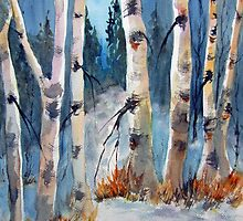 Birches on Blue by bevmorgan