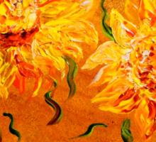 Fiery Sunflowers on Wood Sticker