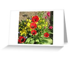 Colourful Corner - Vibrant Red and Pink Tulips Greeting Card