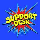 Funny Comic Word Starburst SUPPORT DESK by Tee Brain Creative