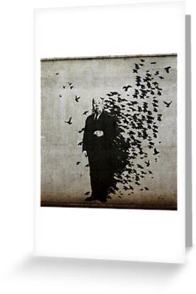 Hitchcock Birds Graffiti  by Iain Maynard