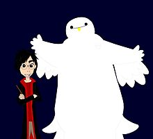 Hiro and Baymax as Harry and Hedwig by Nadee15