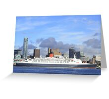 QE2 in Liverpool Greeting Card
