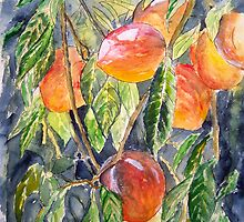 Peaches peach still life painting by derekmccrea