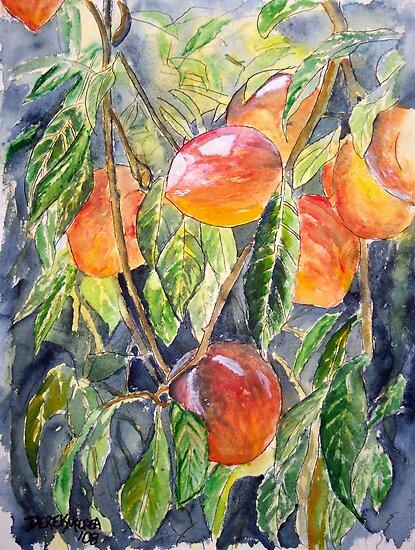 Peaches peach still life painting by derekmccrea