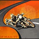 retro motorcycle Isle of Man TT poster by SFDesignstudio