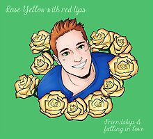 Yellow rose with red tips - Will by hellredsky