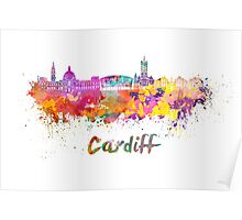 Cardiff skyline in watercolor Poster