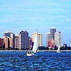 Chicago IL - Two Sailboats Against Chicago Skyline by Susan Savad