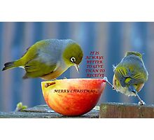 It is always better to give than to receive! - Christmas card - NZ  Photographic Print