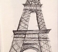 Eiffel Tower - Paris in Ink  by Curupia