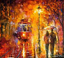 Date By The Trolley — Buy Now Link - www.etsy.com/listing/213172025 by Leonid  Afremov