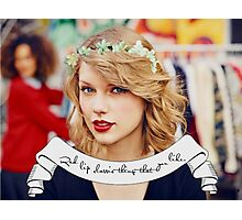 Taylor Swift Flower Crown Red Lip Classic Photographic Print