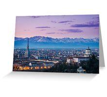 Turin (Torino), twilight panorama Greeting Card