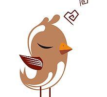 Single cartoon bird in love by berlinrob