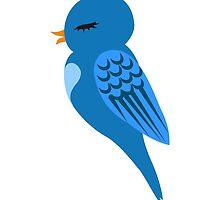Adorable single cartoon bird by berlinrob