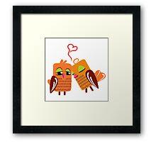 Two orange cartoon owls in love Framed Print