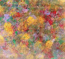 This is an abstract painting,colorful,green,red,gold,sponges by karen66