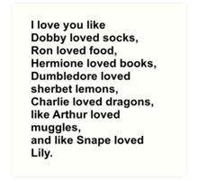 Harry Potter Love Art Print
