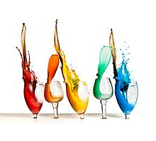 Exploding glasses of paint on white background High speed photography  by PhotoStock-Isra
