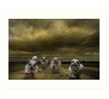 the four fluffy dogs of the Apocalypse Art Print