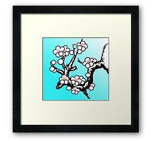 White Sakura Cherry Blossom Vector Design Framed Print