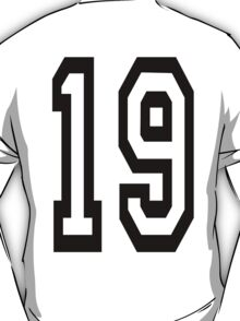 TEAM SPORTS, NUMBER 19, NINETEEN, NINETEENTH, Competition,  T-Shirt