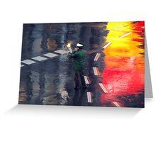 Policeman in the rain  Greeting Card